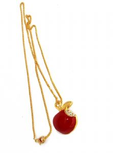 Apple Pendant Necklace Brilliant Red with Crystal Rhinestone inspired by Twilight